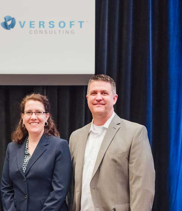 Verity Larsen and Steve Everley at Versoft Consulting conference