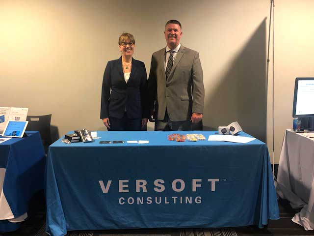 Verity Larsen and Steve Everley at Versoft Consulting booth